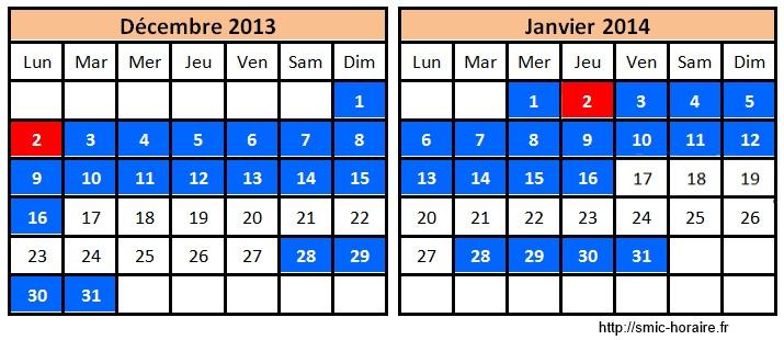 calendrier assedic